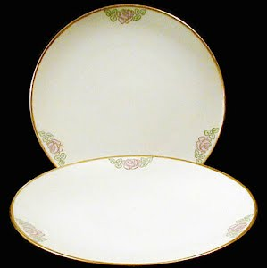Antique Nippon Plate, hand painted porcelain with pink roses decoration