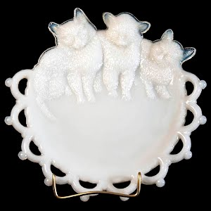 antique plate, milk glass with 3 kittens and cut out design