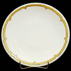 Antique Plate, hand painted porcelain with geometric decoration