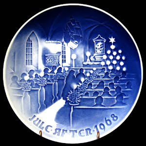 Vintage Blue and White Bing and Grondahl 1968 Christmas Plate