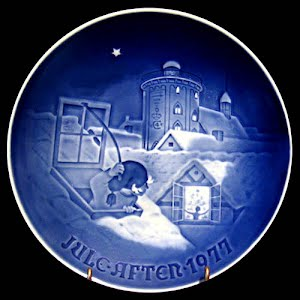Vintage Blue and White Bing and Grondahl 1977 Christmas Plate