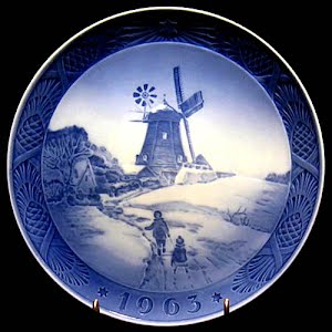 Vintage Blue and White Plate, 1963 Royal Copenhagen Christmas Plate