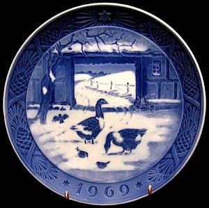 Vintage Blue and White Plate, 1969 Royal Copenhagen Christmas Plate