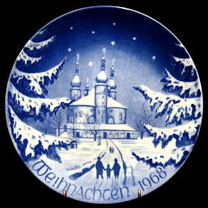 Vintage Blue and white Bareuther 1968 Christmas Plate