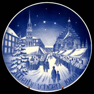 Vintage Blue and white Bareuther 1969 Christmas Plate