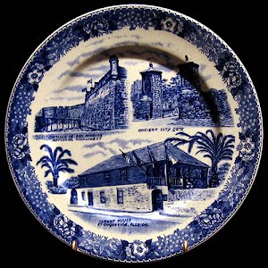 Vintage Blue and White Plate, Souvenir of St. Augustine, Florida