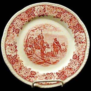 Antique Plate, porcelain with Pilgrim decoration