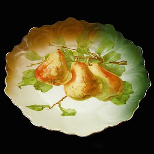 Antique Plate, hand painted porcelain with pear decoration
