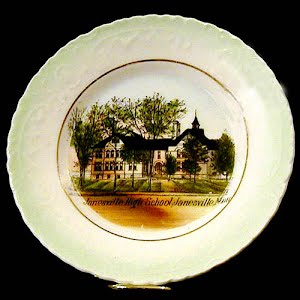 Antique Plate, hand painted porcelain souvenir of Janesville, Minnesota