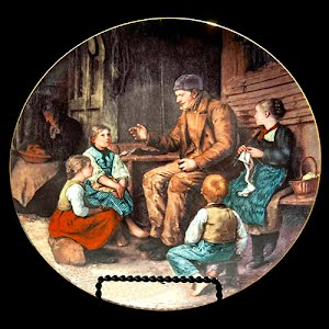 Vintage Langenthal Plate, Grandfather Tells a Story, Porcelain Plate