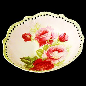 Antique Porcelain Large Bowl with pink roses and cut out work
