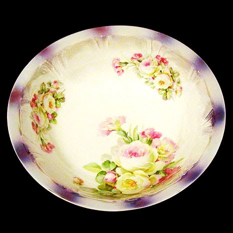 Antique Porcelain Large Floral Bowl with purple luster