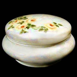 antique porcelain powder dish container