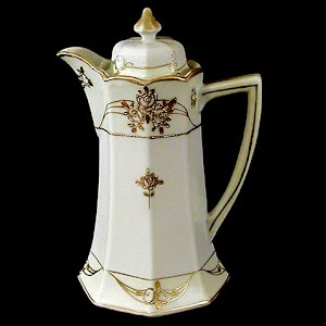Antique Porcelain Nippon Chocolate Pot with gold trim