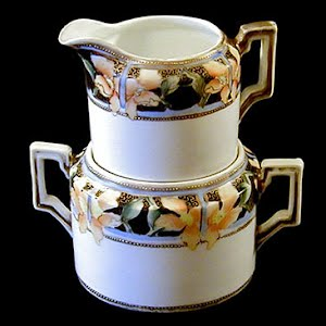 Antique Porcelain Nippon Stacking Cream and Sugar Set with gold trim