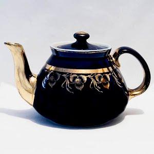 Antique Porcelain Cobalt Blue Teapot with gold trim