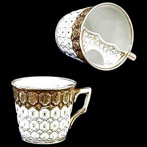 Antique porcelain moustache cup white with gold trim
