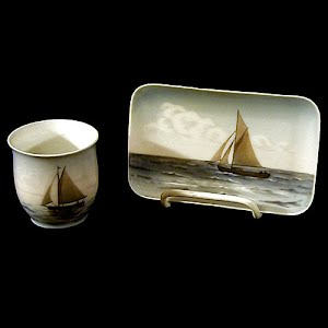 Vintage Bing and Grondahl Sailboats Seascape cup and tray