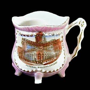 Antique Souvenir Porcelain Cup Federal Building Chicago