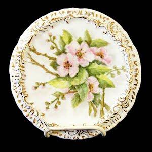 Antique Porcelain Apple Blossom Trivet