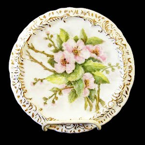 Antique Porcelain Apple Blossom Trivet