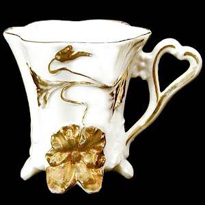 Antique porcelain chocolate mug white and gold
