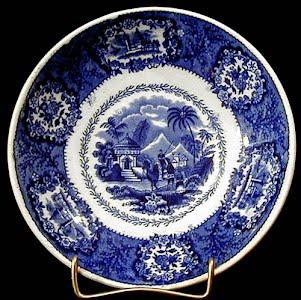 Antique porcelain blue and white pyramid saucer