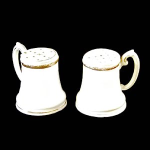 Antique Nippon Salt and Pepper Shakers, white with gold trim, hand painted