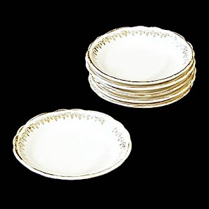 Antique Porcelain Butter pats with gold trim