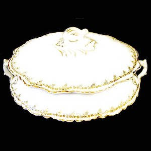 Antique Homer Laughlin Porcelain Covered Casserole, Hudson pattern with gold trim
