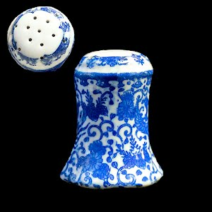 Antique Porcelain Blue and White Salt Shaker