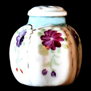 Antique Porcelain Blue and White Salt Shaker with flowers