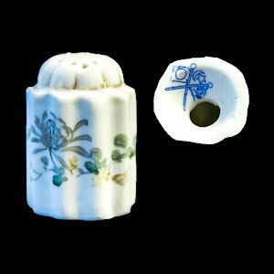 Antique Porcelain White Salt Shaker with flowers