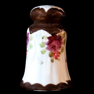 Antique Porcelain Brown and White Salt Shaker with flowers