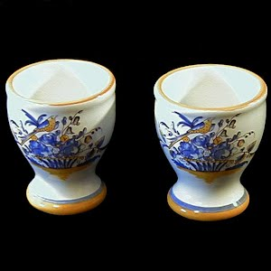 Vintage Porcelain French Egg Cups, Poterie Chapelle