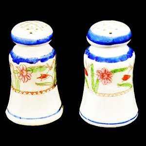 Antique Salt and Pepper Shakers with floral design