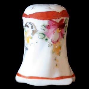 Antique Porcelain Salt Shaker with Flowers