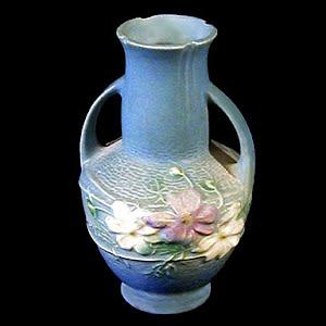 Vintage Roseville Cosmos Blue Pottery Vase