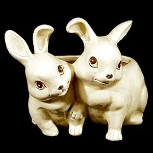 Vintage Bunnies Pottery Planter