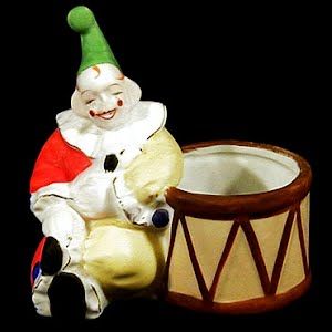 Antique Clown with Drum Planter