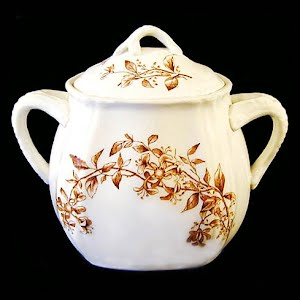 Antique Ironstone Honeysuckle Sugar Bowl