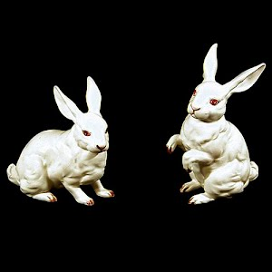 Vintage Lefton Red Label White Rabbits