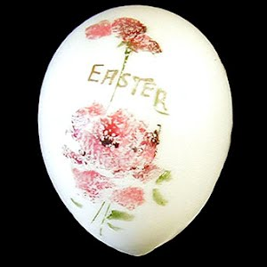 Antique Milk Glass Easter Egg, hand painted