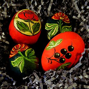Vintage Wooden Russian Easter Eggs hand painted