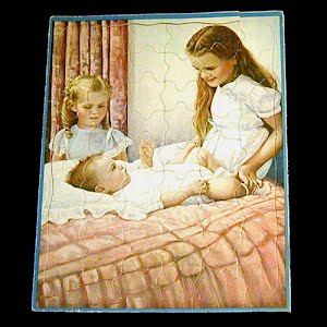 Childs Tray Puzzle 1950, Sisters with Baby Puzzle Walzer Company