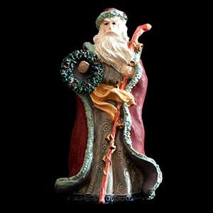 Vintage Christmas Santa Figurine with wreath