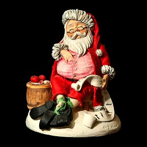 Vintage 1985 Gary Apsit Sleeping Santa with list