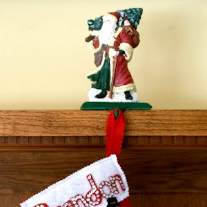 Vintage Cast Iron Santa Christmas Stocking Holder