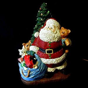 Vintage Ceramic Light Up Christmas Tree and Santa with Toy Bag