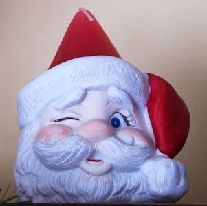 Vintage Christmas Winking Santa Candle Holder